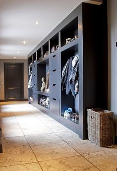 At Home: The Modern Mudroom. And modern this mudroom is. Well thought out and streamlined indeed. At Home: The Modern Mudroom. And modern this mudroom is. Well thought out and… Boot Room Utility, Entry Way Design, Rustic Contemporary, Closet Designs, Built Ins, New Homes, House Design, Interior Design, Organization Ideas