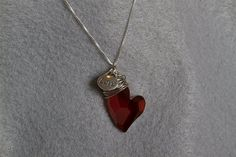 Red Crystal Heart Pendant by PiccolinaJewelry on Etsy, $44.00