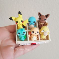 BOX OF POKEMON!!! polymer clay charm, clay charm, kawaii, chibi, resin