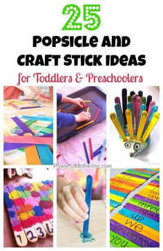 tons of awesome ideas to keep your toddler or preschooler occupied and learning with popsicle sticks! #artsandcraftsfortoddlers,