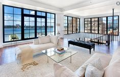 New York penthouse. So many windows. New York Penthouse, Luxury Penthouse, Luxury Condo, Interior And Exterior, Interior Design, City Living, Living Rooms, Pent House, Apartment Interior
