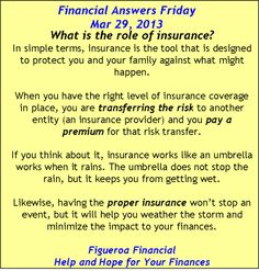 Financial Answers Friday (Mar 29, 2013): The Role of Insurance