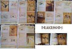 Drakengids: Gemaakt in Word. Lettertype DS RUNE ENGLISH. Geprint op perkament papier dat je kan bestellen bij Viking. Bij afdrukken kiezen voor 4 pagina's op 1 vel. Dan krijg je een mooi formaat! Hartstikke stoer voor de jongens!
