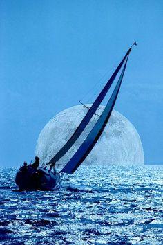"""Moonlight Sailing"" photo by Sherwood Burton. more with healing sounds: Stars Night, Yacht Boat, Beautiful Moon, Sail Away, Tall Ships, Water Crafts, Sailing Ships, Moonlight, Scenery"
