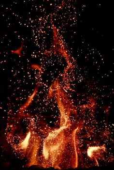 The beauty of sparks and flying embers from a blazing bon fire in the night, dazzling!