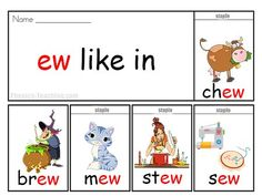 ew words - FREE & Printable - Phonics Flip Book - words with ew in them - Perfect Auditory Discrimination, Individual Literacy Plans and Spelling Lessons.