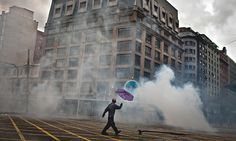 The police have often used tear gas to dispel student protests in Santiago, Chile, where the government has declared zero tolerance for school occupations.