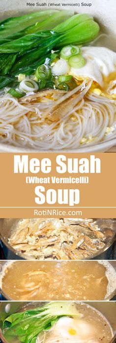 Mee Suah Soup (Wheat Vermicelli Soup) - a quick and easy comfort food that takes only minutes to prepare. Add or substitute with ground pork for a heartier flavor. Yummy Pasta Recipes, Soup Recipes, Cooking Recipes, Baby Recipes, Yummy Food, Healthy Recipes, Asian Noodle Recipes, Asian Recipes, Chinese Recipes