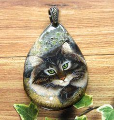 """Купить Кулон с росписью """"Сибиряк"""" - кулон с росписью, роспись по камню, лаковая миниатюра, лаковая роспись"""