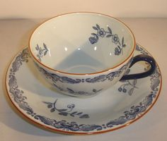 Rorstrand Ostindia Cup and Saucer Set Blue Floral Sweden #Rorstrand