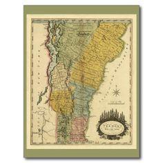 Vermont From Actual Survey Vintage 1814 Map Postcard