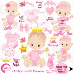 80%OFF Baby girl clip art, girl onezies, Little princess clipart, create your own clipart, princess clipart, baby birthday clipart, AMB-1293