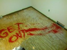 Some friends left a surprise for the next people who redo the carpet. genius idea!