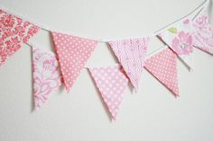 Fabric Banner Bunting Flags, Pretty in Pink by Little Boats contemporary nursery decor