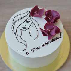 No photo description available. Birthday Cake Writing, Birthday Cake For Husband, New Birthday Cake, Bolo Floral, Floral Cake, Cake Decorating Tips, Cookie Decorating, Tortas Deli, Bolo Russo