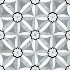 Edie Stone Mosaic shown in Nero, Bardiglio, Thassos, and Carrara.