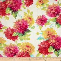 Michael Miller Spring Fling Darling Mums Sunshine from @fabricdotcom  Designed for Michael Miller Fabrics, this fabric is perfect for quilting, apparel and home décor accents. Colors include yellow, aqua, lime, green and rose.