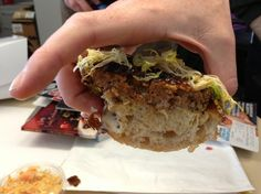 A mouth's eye view of the mighty meatloaf sandwich on approach.