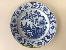 18th Century Delft Blue and White Chinoiserie Charger