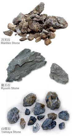 3 main types of stones for Nature Aquarium All available through ADA distributors in your area.