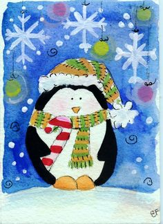 original watercolor ACEO-christmas penguin snowflakes by elisatta