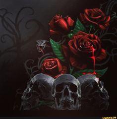 Found on iFunny Sugar Skull Art, Sugar Skulls, Skull Rose Tattoos, Vampire Pictures, Beautiful Dark Art, Beautiful Images, Skull Pictures, Skull Artwork, Skull Wallpaper