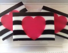 Love Spell Soap - glycerin soap, handmade soap, valentines soap, pink, black and white