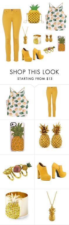 """pineapple"" by zinasalaitah ❤ liked on Polyvore featuring WithChic, rag & bone, Casetify, nOir, R&Renzi, Joanna Buchanan and Alex Monroe"
