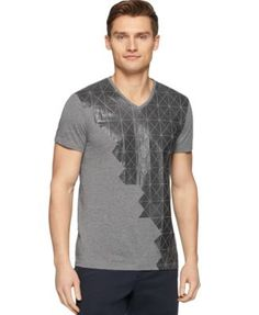 Calvin Klein Ck One Grid-Graphic V-Neck Slim-Fit T-Shirt