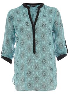 Blue tile print shirt - View All Sale - Sale & Offers - Dorothy Perkins United States