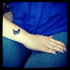 3D butterfly coloured teal to support Pcos :-) - pcos tattoo