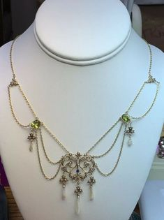 Victorian 10k Gold Mississippi Pearl Peridot Swag Necklace N-1501 8.7 Grams #SWAG Pearl Chain, Silver Enamel, Peridot, Mississippi, Pearl Necklace, Swag, Victorian, Rose Gold, Pendants