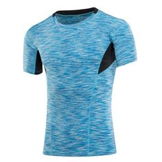 Fabric Material:    86% Polyester + 14% Spandex  	  Closure Type:   Standard  	Collar: O-Neck   	 Sleeve: S   hort sleeve  	 Fit Type: Slim Fit  	  Thickness:   Standard   	 Color:    Pink, Blue, Black  	  Occasion:    Casual,  Sports, Gym, 	Bodybuilding, Training, Running  	  Season:    Summer  	 Tag Size: M, L, XL, 2XL  	 	 Package included:  	 1*T-shirt    	 	  Please Note:   	             1.Please see the Size Reference to find the correct size.