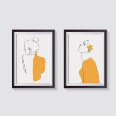 #woman #body #art #design #creative #yellow #minimal #set of 2 #line drawing #sketch #illustration #decor #interior #naked #body Abstract Illustration, Illustration Ligne, Art Minimaliste, Art Design, Minimalist Art, Line Drawing, Illustrations Posters, Line Art, Watercolor Paintings