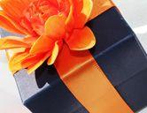 Navy and Tangerine Flower Wedding Favor Box