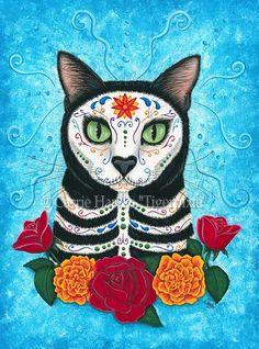 Dia de los Muertos Gato.   I love any Day of the Dead art.
