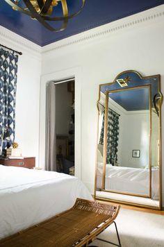 white walls blue ceiling/large bedroom mirror/One Room Challenge Week Five - @thouswellblog