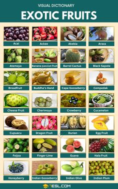 Exotic Fruits | List of 75+ Exotic Fruits You've Probably Never Heard Of Cape Gooseberry, English Collocations, Acai Fruit, Fruit List, Visual Dictionary, Fruit Picture, Cheese Fruit, Apple Roses, Charts For Kids