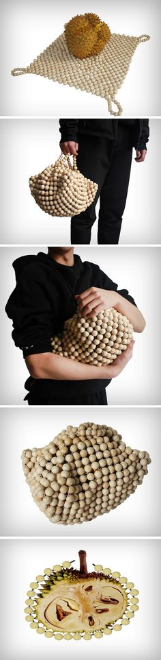 """How does one buy and carry the durian then? It tears through most plastic bags (""""duri"""" means spiky in the Malay language) and can often hurt palms when carried by hand. Designers from Wenzhou College developed a bag especially for carrying the Durian safely. Its construction involves a mesh of paper balls that create a perfect container for the spiky durian."""