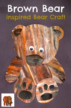 Brown Bear inspired Bear Craft for Kids My Little Me (paper crafts kids eric carle) Bear Crafts Preschool, Toddler Crafts, Crafts For Kids, Craft Kids, Crayon Art, Kindergarten Art, Eric Carle, Bear Art, Animal Crafts