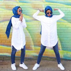 "micdotcom: "" These badass young women are showing the world what ""Muslim style"" looks like When Amirah Aulaqi walks down the streets of New York, everyone turns and stares. Amirah dresses in a hijab. Islamic Fashion, Muslim Fashion, Modest Fashion, Fashion Outfits, Hijab Fashion Casual, Modest Wear, Modest Outfits, Hijab Outfit, Hijab Stile"