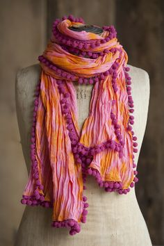 Orange & Pink Tie-Dye Pompom Scarf