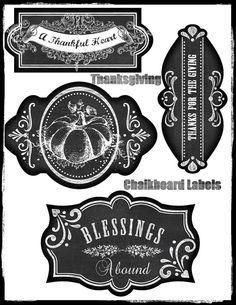 Thanksgiving Chalkboard Labels Set Tradional by SenecaPondCrafts