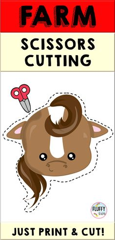 Farm activities for preschool. Have your kids practice their scissors cutting skill with this fun Farm printable! Cutting Activities, Indoor Activities For Toddlers, Farm Activities, Educational Activities, Farm Animals Preschool, Preschool Centers, Preschool Education, Farm Animals Pictures, Learning The Alphabet