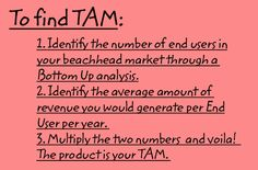 Image: The text says, 'To find TAM: 1. Identify the number of end users in your beachhead market through a Bottom Up analysis; 2. Identify the average amount of revenue you would generate per End User per year; 3. Multiply the two numbers and voila! The product is your TAM.'
