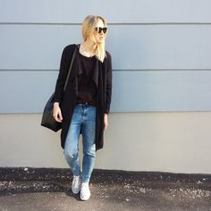 tifmys - Céline Mini Audrey sunnies, H&M trench and denim, Coccinelle Bilbao bucket bag & Adidas Gazelle sneakers.