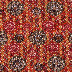 Jersey viscose Fleur rétro 2 - Viscose - Élasthanne - rouge