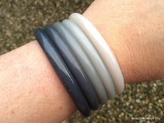 Shades of grey bangles vintage Buch and Deichmann set of 5 Plastic Jewellery, Shades Of Grey, Harrods, Denmark, Vintage Designs, Objects, Bangles, Jewelry, Bracelets