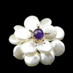 Stunning Glass Flower Brooch with Violet Bead