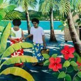 Fiji figures with hibiscus Vibrant Colors, Colours, Australian Artists, South Pacific, Fiji, Impressionist, Hibiscus, Gallery Wall, Tropical